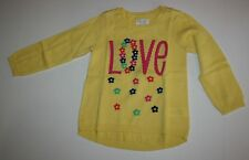 New TCP The Children's Place Yellow LOVE Floral Flower Sweater Size 2T Year NWT