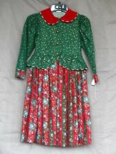 Victorian Edwardian Green & Red Christmas Caroler Girl's Child Dress Costume