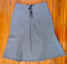 Laura Ashley vintage brand new black & white lace-up front wool skirt size 14