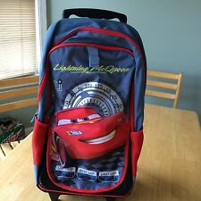 NWT Disney Store Boys Cars Lightening McQueen Rolling Backpack / Luggage School