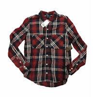 NWT F21 Forever 21 Plaid Button Down Shirt Cozy Long Sleeve S Small Red Blue NEW