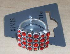 NEW PILGRIM SKANDERBORG, DENMARK Red-Orange Crystal Adjustable Ring