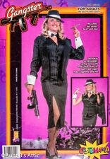 Ladies Gangster Suit Costume 3 Pc Blk Cotton Pinstripe Skirt Vest & Jacket LG