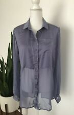 Free People Women's Lavender Best Of Both Worlds Sheer Split Back Blouse Size S