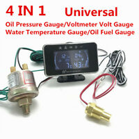 LCD Car Oil Fuel/Oil Pressure/Water Temperature/Voltage 4 IN 1 Gauge with Sensor