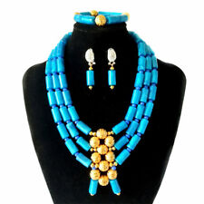 Blue Coral Women Necklace Nigerian Wedding Beads African Bridal Jewelry Set