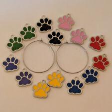 Colorful Paw Print Stainless Steel Hoop Earrings Set of 7