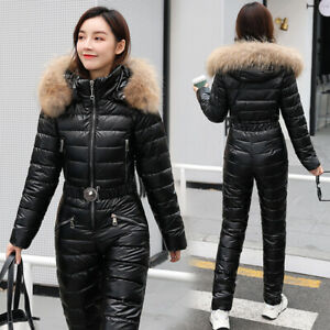 Fashion Shiny One-Piece Ski Suit Cotton Winter Warm Ladies One-Piece Ski Suit