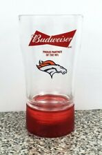 Budweiser Beer Denver Broncos NFL Touchdown Red Light Sync Glass