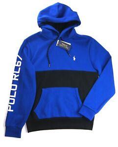 POLO RALPH LAUREN Men's Blue Multi Colorblock POLO RL67 Double Knit Hoodie NWT