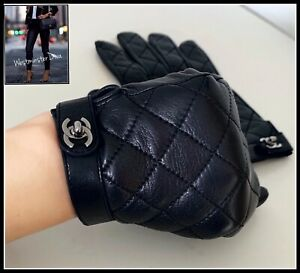 Guaranteed Authentic! CHANEL Black Lambskin Leather Silver CC's GLOVES Size 8