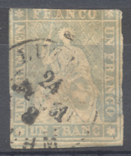 1855, sitzende Helvetia, Strubel, ohne SF, Mi 18 IIAy, Zu 27 C, 2. Wahl