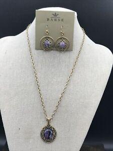 Barse Nairobi Necklace & Earring Set- Charoite & Bronze- NWT