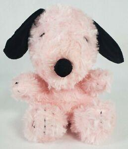 "Pink Snoopy Plush Dog Black Ears Hallmark 6"" Soft Fluffy"