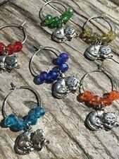 Set of 6 Sleeping Cat Wine Glass Charms Pendant Drink Markers