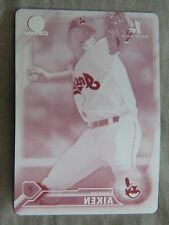 Brady Aiken 2016 Bowman Chrome Magenta Printing Plate Card #1/1 Cleveland Indian