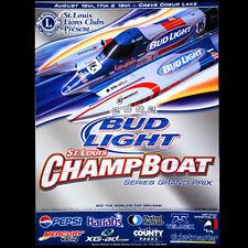 "Bud Light Seebold F1 Boat Racing 18x24 Poster 2002 ""Wake the Lake"" St. Louis"
