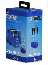 4Gamers CHARGE Play and Charge Cables with Desktop Stand Blue PS4