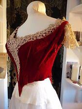 RARE Original Victorian Red Silk Velvet + Cream Lace Bodice - French - Small