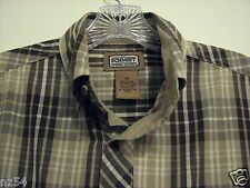Schmidt Medium Brown Tan Plaid Workwear Button Pocket Short Sleeve Mens Shirt