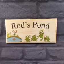 Personalised Pond Sign, Frogs Garden Plaque Grandad Fish Fathers Day Dad Frog