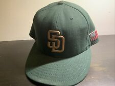 Padres New Era 59Fifty Fitted Ball Cap, Green W/ American Flag Patch Size 7 1/2