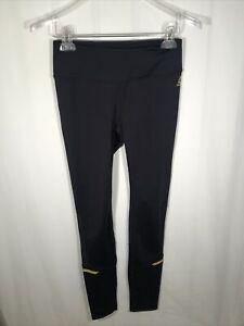 Reebok Women's (Size Small) Black/Gold Mesh Panels Workout Leggings