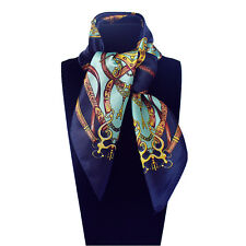 """Women's Navy Blue Square Kerchief  with Euro Fashion Printed Small Scarf 23""""*23"""""""