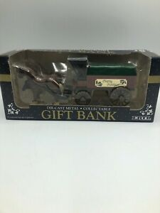 Ertl Die Cast Metal Collectible Gift Bank Horse And Carriage Happy Holidays NIB