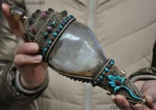 Tibet crystal silve Filigree Inlay Turquoise gemstone Conch Shell Trumpet Horn
