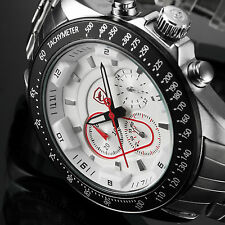SHARK Silver White Chronograph Army Stainless Steel Sport Quartz Men Wrist Watch