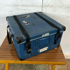 Vintage Blue Square Hard Travel Case with Clips