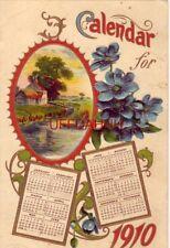 Calendar For 1910 twelve months Embossed