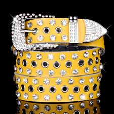 Women Genuine Leather Belt Crystal Studded Bling Pin Buckle Waistband Gift