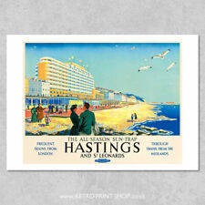 BR Hastings & St Leonards Poster #4 - Railway Posters, Retro Vintage Travel P...