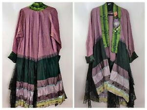 Lee Andersen Womens Colorful Crinkle Applique Lace Art To Wear Duster Jacket XL