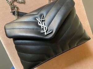 Authentic Ysl LOULOU SMALL Saint Laurent BAG SILVER  BLACK