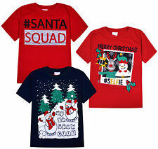 Girls Boys Christmas T shirts Kids Xmas Top Red Navy Age 7 8 9 10 11 12 13 Years