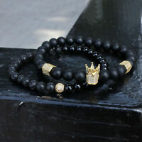 Trendy Micro Inlay Crown Beaded Bracelet Bangle Natural Lava Stone Men Jewelry