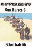 6 Pferde mit Stangen für Gespann - Artillerie / Tross -1:72 - Zinnfiguren OVP