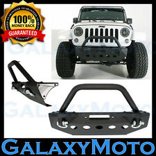 Rock Crawler Stubby Front Bumper+Winch Plate+2xD-Ring for 07-18 JK Wrangler JK