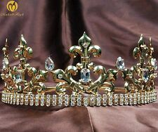 King Men Gold Tiara Crown Imperial Medieval Headband Crystal Pageant Costumes