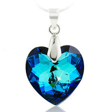 925 Sterling SILVER TITANIC Blue OCEAN HEART NECKLACE w Swarovski CRYSTAL SS1033