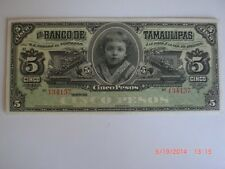 Mexican Revolution Banco de Tamaulipas 5 Pesos Banknote Peso Mexico Currency
