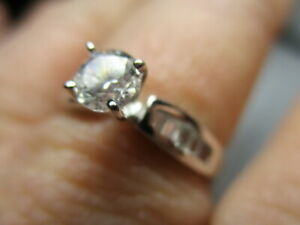 STERLING SILVER 925 ROSS SIMONS CUBIC ZIRCONIA SOLITAIRE ACCENTS RING SIZE 9
