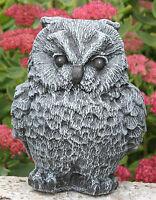 Steinfigur Eule klein Steinguss Schiefergrau Gartendeko Gartenfigur frostfest