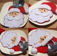 Christmas Holder Pocket Tisch Dekor Party Weihnachtsmann Kopf Besteck Tasche Neu
