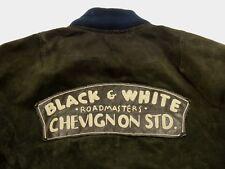 Charles Chevignon Chaqueta de cuero negro y blanco roadmasters Piel Ante Talla: