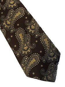 """Brad Lauter Cravatte  Silk Tie Paisley Burgundy Black Gold Necktie 57""""x4"""""""