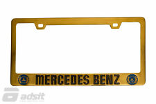 New 84-93 Mercedes Benz 190D/E Gold Licence Plate Frame with Blue Logo *LP-GBL